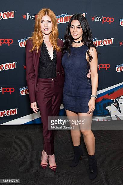 Actresses Katherine McNamara and Emeraude Toubia attend the Shadowhunters Season 2 QA press room during 2016 New York Comic Con at the Jacob Javitz...