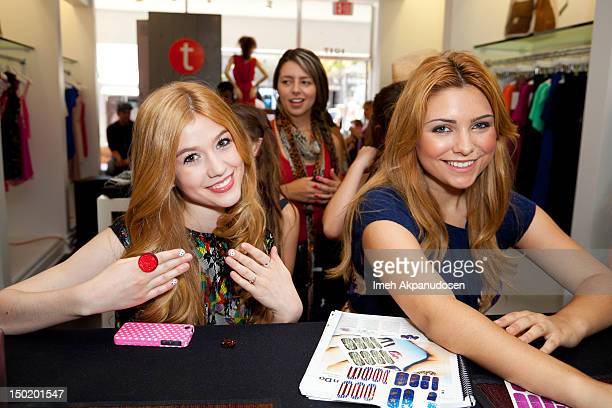 Actresses Katherine McNamara and Julianna Rose attend the Teen Vogue BackToSchool Event Madison t Boutique Launch Party on August 11 2012 in Pacific...