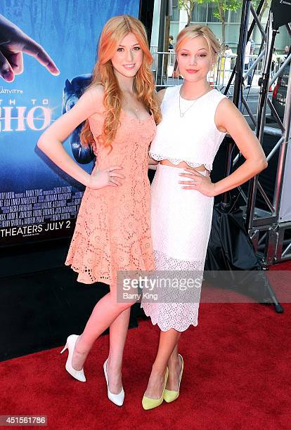 Actresses Katherine McNamara and Olivia Holt arrive at the 2014 Los Angeles Film Festival Screening Of 'Earth To Echo' on June 14 2014 at Regal...