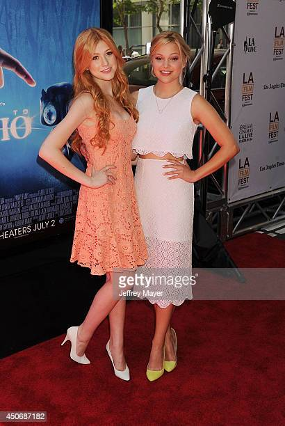 Actresses Katherine McNamara and Olivia Holt attend the premiere of 'Earth to Echo' during the 2014 Los Angeles Film Festival at Regal Cinemas LA...