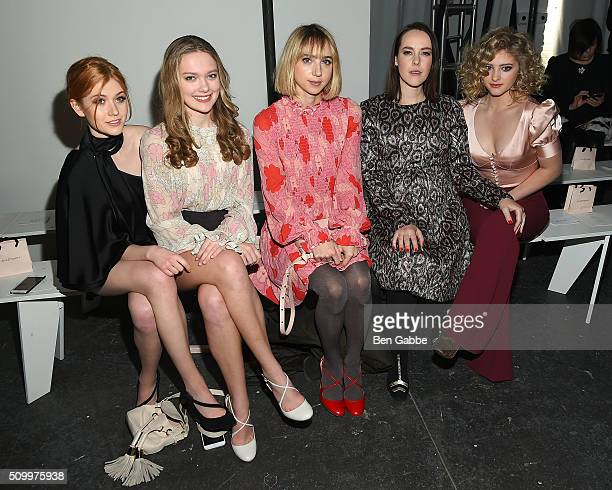 Actresses Katherine McNamara Bridget McGarry Zoe Kazan Jena Malone and Willow Shields attend the Jill Stuart fashion show during Fall 2016 New York...