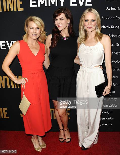 Actresses Kathleen Rose Perkins Sara Rue and Mircea Monroe attend the Showtime Emmy eve party at Sunset Tower on September 17 2016 in West Hollywood...