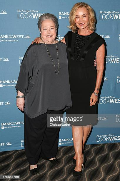 Actresses Kathy Bates and Jessica Lange attend the 'Look West' New York Times event featuring American Horror Story leading ladies Jessica Lange And...