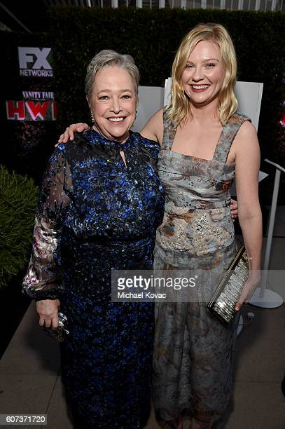 Actresses Kathy Bates and Kirsten Dunst at Vanity Fair And FX's Annual Primetime Emmy Nominations Party on September 17 2016 in Beverly Hills...