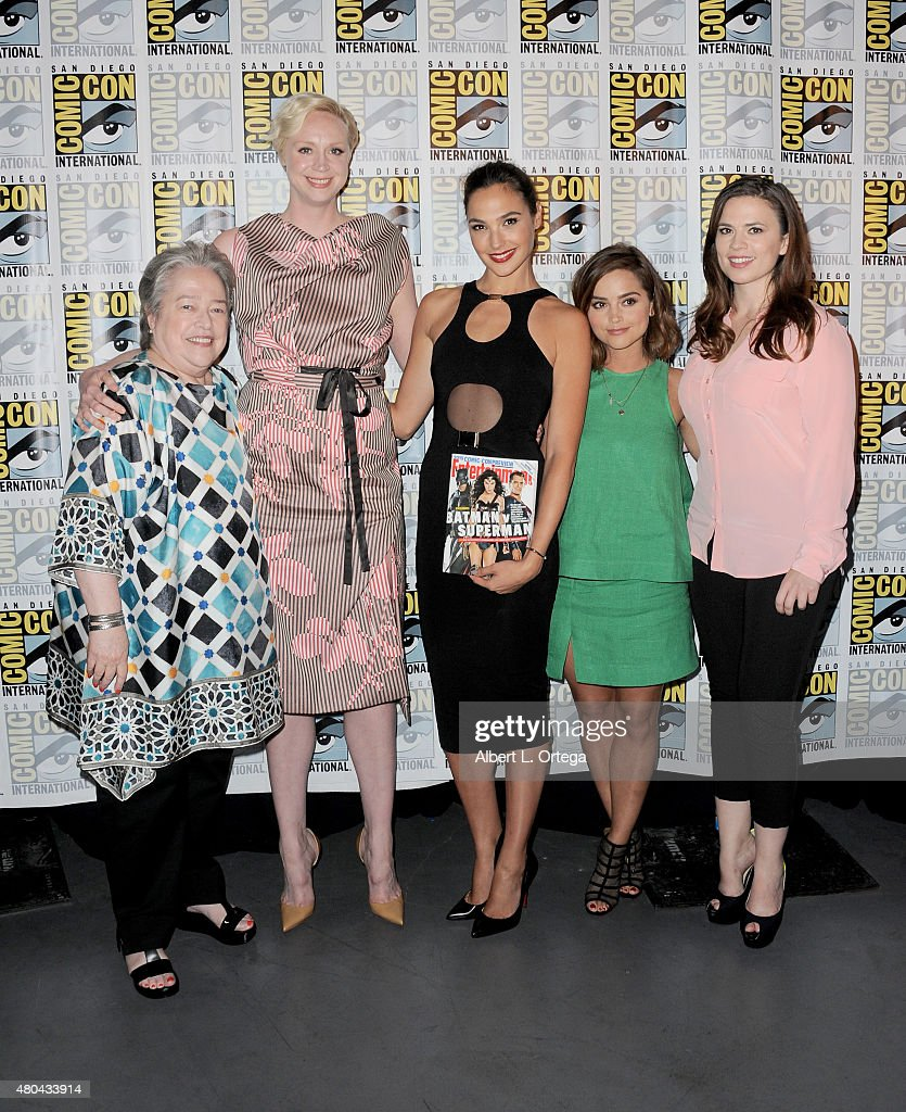 Actresses Kathy Bates, Gwendoline Christie, Gal Gadot, Jenna Coleman, and Hayley Atwell pose at the Entertainment Weekly: Women Who Kick Ass panel during Comic-Con International 2015 at the San Diego Convention Center on July 11, 2015 in San Diego, California.