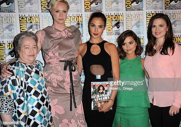 Actresses Kathy Bates Gwendoline Christie Gal Gadot Jenna Coleman and Hayley Atwell pose at the Entertainment Weekly Women Who Kick Ass panel during...