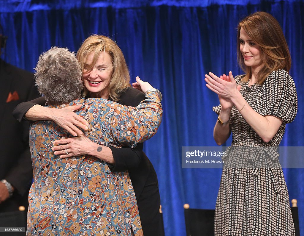 Actresses Kathy Bates, Jessica Lange and Sarah Paulson speak during The Paley Center For Media's PaleyFest 2013 Honoring 'American Horror Story: Asylum' at the Saban Theatre on March 15, 2013 in Beverly Hills, California.