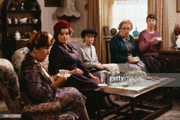 Actresses Kathy Staff Jane Freeman Juliette Kaplan Thora Hird and Sarah Thomas drinking tea in a scene from episode 'Come Back Jack Harry Teesdale'...