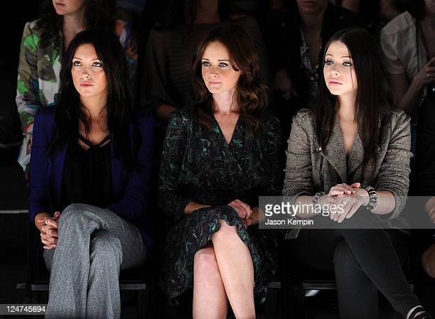 Actresses Katie Cassidy Alexis Bledel and Michelle Trachtenberg attend the Rebecca Minkoff Spring 2012 fashion show during MercedesBenz Fashion Week...