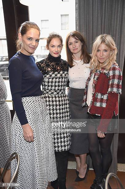 Actresses Katie Holmes Ruth Wilson Emily Mortimer and Sienna Miller attend Through Her Lens The Tribeca CHANEL Women's Filmmaker Program Luncheon at...
