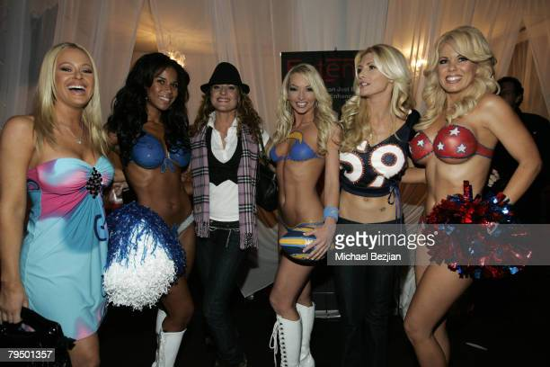 Actresses Katie Lohmann Jerri Manthey and playmate Brande Roderick pose with guests at the Playboy Mansion Super Bowl Party on February 3 2008 in Los...