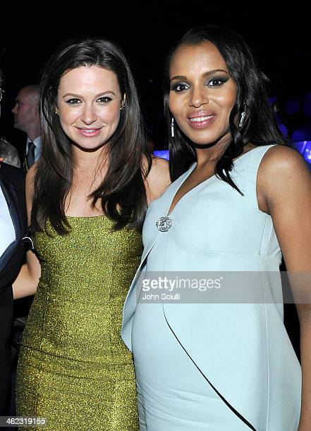 Actresses Katie Lowes and Kerry Washington attend the 2014 InStyle And Warner Bros. 71st Annual Golden Globe Awards Post-Party at The Beverly Hilton...