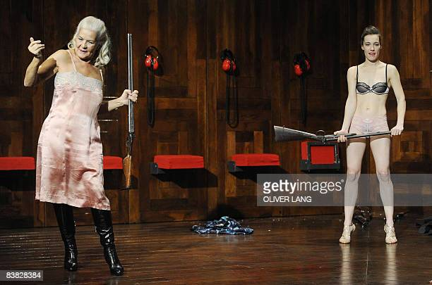"Actresses Katja Buerkle and Hildegard Schmahl rehearse a scene of the play ""Rechnitz "" on November 26, 2008 at the Kammerspiele theater in Munich,..."