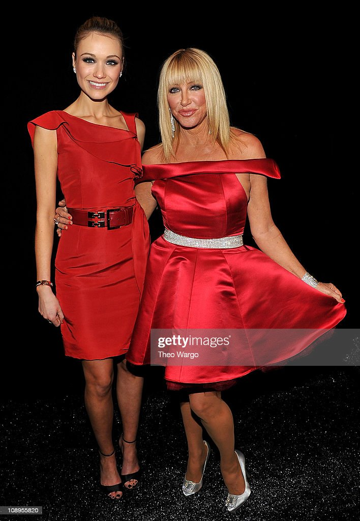 Actresses Katrina Bowden (L) and Suzanne Somers attend the Heart Truth's Red Dress Collection 2011 during Mecerdes-Benz fashion week at The Theatre at Lincoln Center on February 9, 2011 in New York City.