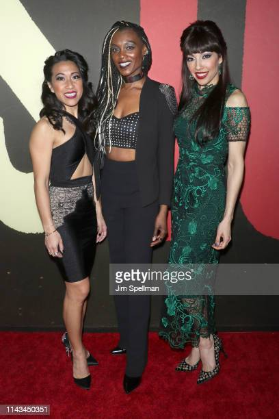 Actresses Kay Trinidad Jewelle Blackman and Yvette GonzalezNacer attend the Hadestown opening night at Walter Kerr Theatre on April 17 2019 in New...