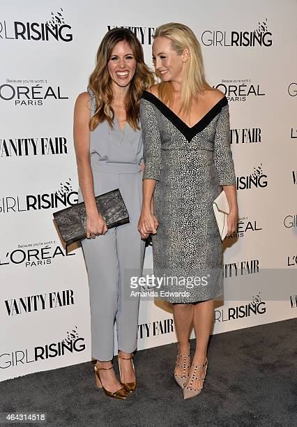 Actresses Kayla Ewell and Candice Accola arrive at the Vanity Fair and L'Oreal Paris Girl Rising benefit at 1 OAK on February 20 2015 in West...
