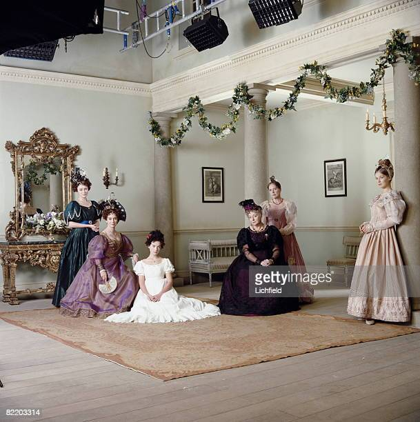 Actresses Keeley Hawes Francesca Annis Justine Waddell Barbara LeighHunt Penelope Wilton and Rosamund Pike on the set of the BBC television...