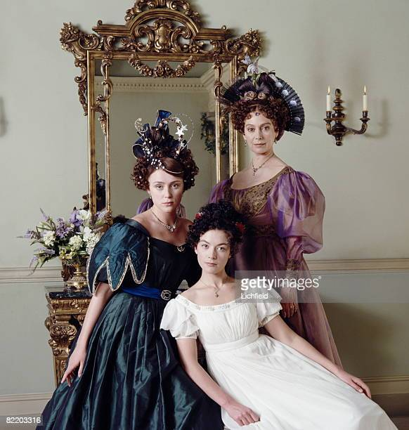 Actresses Keeley Hawes Justine Waddell and Francesca Annis on the set of the BBC television miniseries 'Wives and Daughters' based on the novel by...