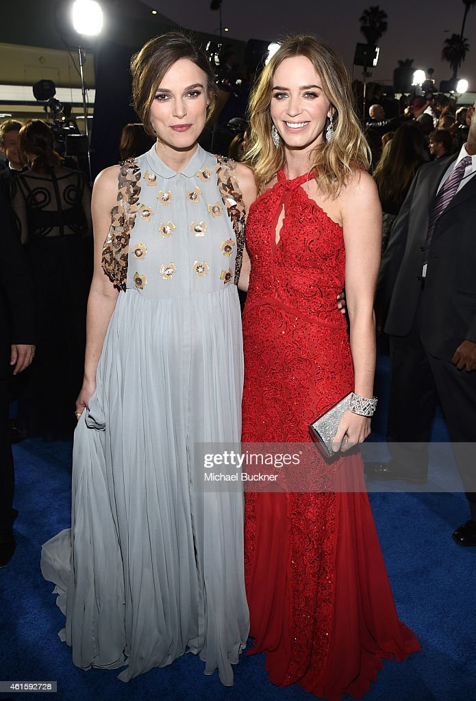 Actresses Keira Knightley (L) and Emily Blunt attend the 20th annual Critics' Choice Movie Awards at the Hollywood Palladium on January 15, 2015 in Los Angeles, California.