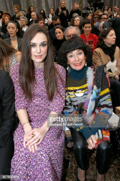 Actresses Keira Knightley and Geraldine Chaplin attend the Chanel show as part of the Paris Fashion Week Womenswear Fall/Winter 2018/2019 on March 6...