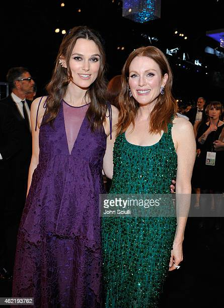 Actresses Keira Knightley and Julianne Moore attend TNT's 21st Annual Screen Actors Guild Awards at The Shrine Auditorium on January 25, 2015 in Los...