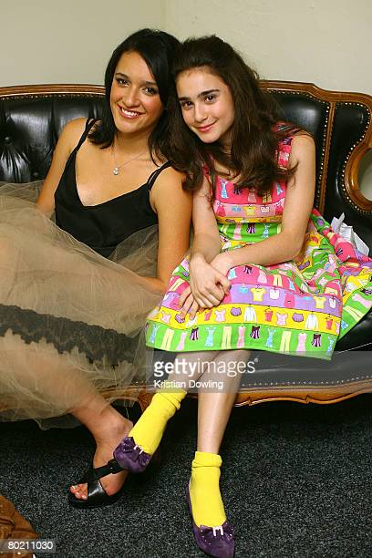 Actresses Keisha CastleHughes and Danielle Catanzariti pose backstag at the 2008 Movie Extra FilmInk Awards at the State Theatre on March 12 2008 in...