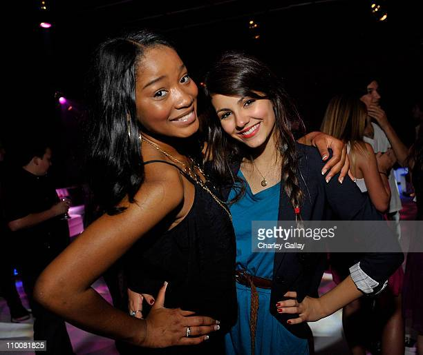 Actresses Keke Palmer and Victoria Justice celebrate at Miranda Cosgrove's Sweet 16 Party at Siren on May 16, 2009 in Los Angeles, California.