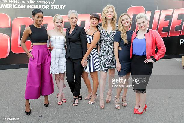 Actresses Keke Palmer Emma Roberts Jamie Lee Curtis Lea Michele Skyler Samuels Billie Catherine Lourd and Abigail Breslin of the show 'Scream Queens'...