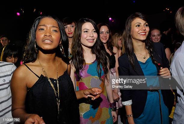 Actresses Keke Palmer, Miranda Cosgrove, and Victoria Justice enjoy musician Sarah Borellis performance at Miranda Cosgrove's Sweet 16 Party at Siren...
