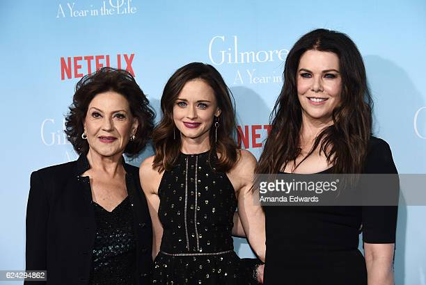 Actresses Kelly Bishop Alexis Bledel and Lauren Graham arrive at the premiere of Netflix's 'Gilmore Girls A Year In The Life' at the Regency Bruin...
