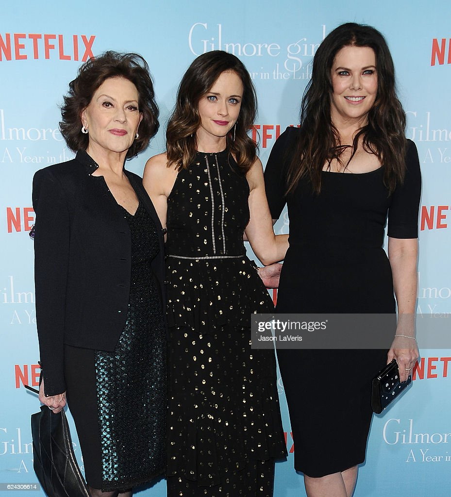 Actresses Kelly Bishop, Alexis Bledel and Lauren Graham attend the premiere of 'Gilmore Girls: A Year in the Life' at Regency Bruin Theatre on November 18, 2016 in Los Angeles, California.