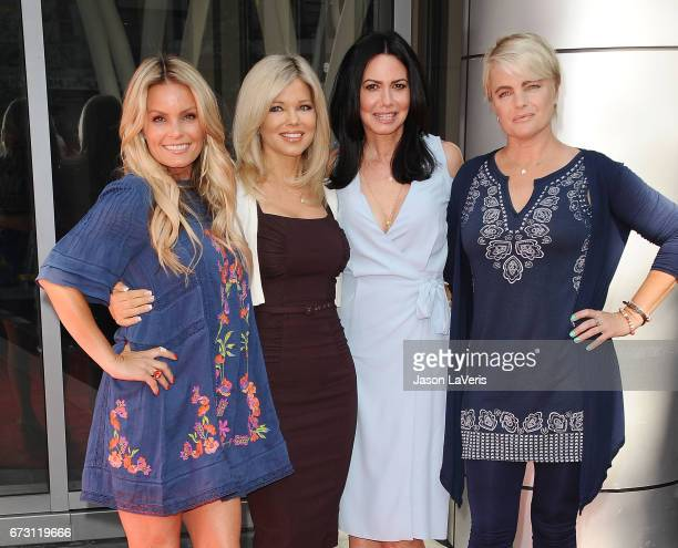 Actresses Kelly Packard Donna D'Errico Nancy Valen and Erika Eleniak attend the 'Baywatch' SlowMo Marathon at Microsoft Square on April 22 2017 in...