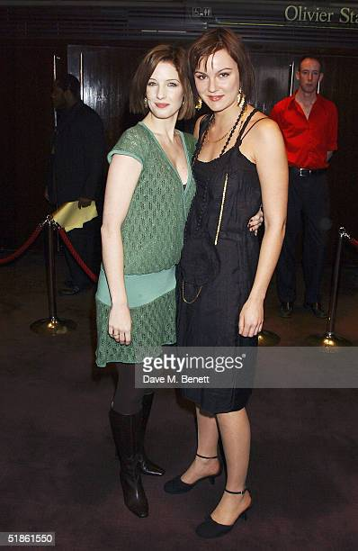 Actresses Kelly Reilly and Rachael Stirling attend the Evening Standard Theatre Awards at the National Theatre on December 13 2004 in LondonThe...