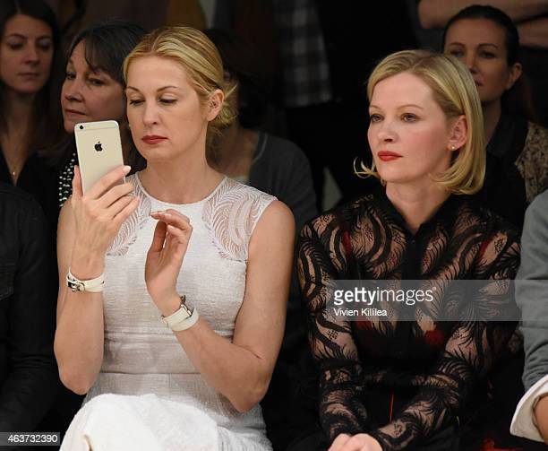 Actresses Kelly Rutherford and Gretchen Mol attend the Sophie Theallet show during MADE Fashion Week Fall 2015 at Pier 59 Studios on February 17 2015...