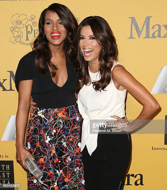 Actresses Kerry Washington and Eva Longoria attend the Women In Film, Los Angeles Presents the 2014 Crystal + Lucy Awards at the Hyatt Regency...