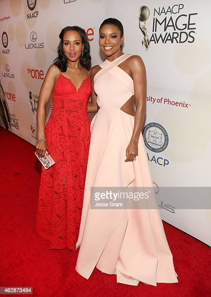 Actresses Kerry Washington and Gabrielle Union attend the 46th NAACP Image Awards presented by TV One at Pasadena Civic Auditorium on February 6 2015...