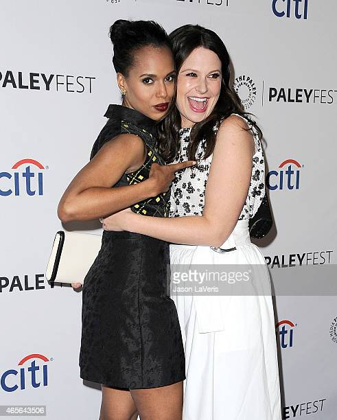 Actresses Kerry Washington and Katie Lowes attend the 'Scandal' event at the 32nd annual PaleyFest at Dolby Theatre on March 8 2015 in Hollywood...