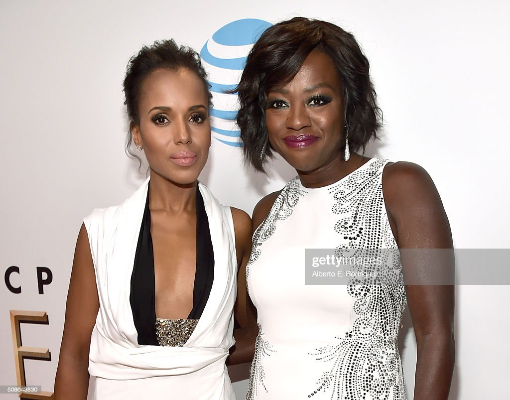 Actresses Kerry Washington (L) and Viola Davis attend the 47th NAACP Image Awards presented by TV One at Pasadena Civic Auditorium on February 5, 2016 in Pasadena, California.