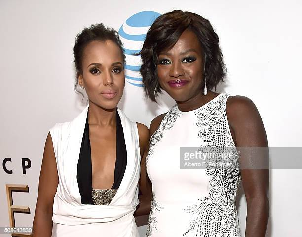 Actresses Kerry Washington and Viola Davis attend the 47th NAACP Image Awards presented by TV One at Pasadena Civic Auditorium on February 5 2016 in...