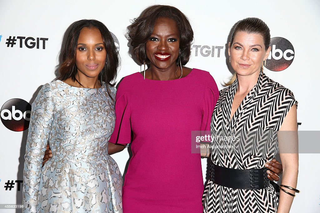 Actresses Kerry Washington, Viola Davis, and Ellen Pompeo attend the TGIT Premiere event at Palihouse on September 20, 2014 in West Hollywood, California.