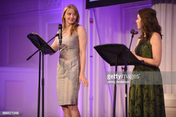 Actresses Kersti Bryan and Margo Seibert perform on stage at The Eugene O'Neill Theater Centers to the Monte Cristo Awards honoring Judith Light on...