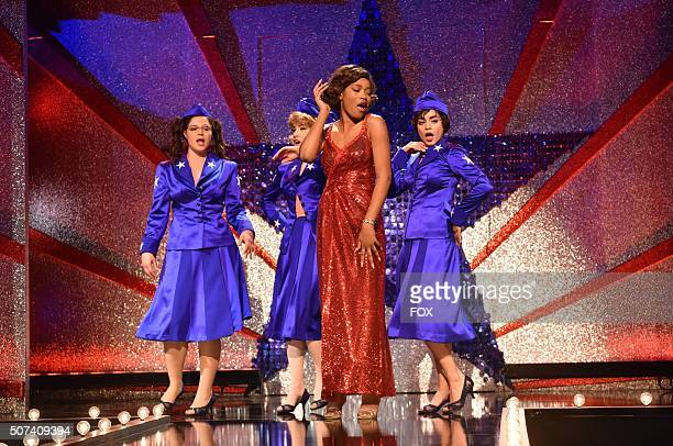 LIVE Actresses Kether Donohue as 'Jan' Carly Rae Jepsen as 'Frenchy' Keke Palmer as 'Marty' and Vanessa Hudgens as 'Rizzo' during the dress rehearsal...