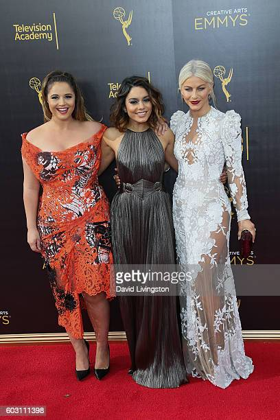 Actresses Kether Donohue Vanessa Hudgens and Julianne Hough attend the 2016 Creative Arts Emmy Awards Press Room Day 2 at the Microsoft Theater on...