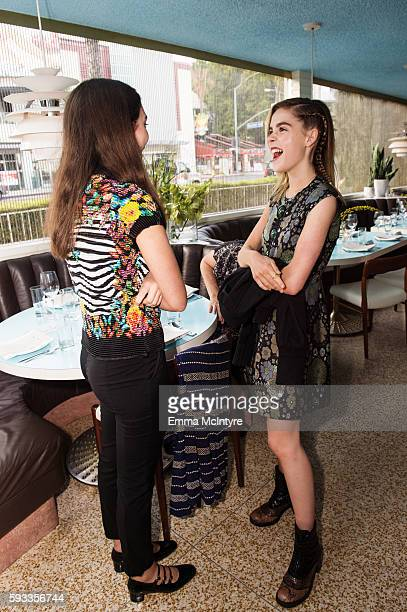 Actresses Kiernan Shipka and Rowan Blanchard attend the Women of Cinefamily weekend closing party at The Standard Hollywood on August 21 2016 in West...