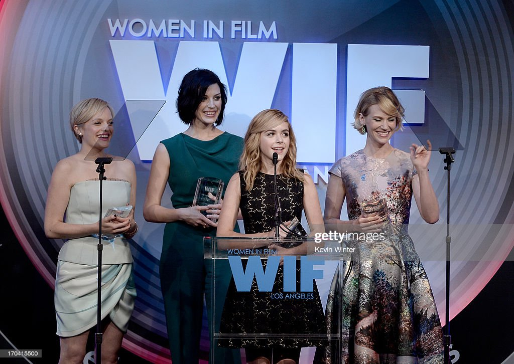 Actresses Kiernan Shipka, Jessica Pare, Elisabeth Moss, January Jones of 'Mad Men' accept the Lucy Award for Excellence in Television onstage during Women In Film's 2013 Crystal + Lucy Awards at The Beverly Hilton Hotel on June 12, 2013 in Beverly Hills, California.