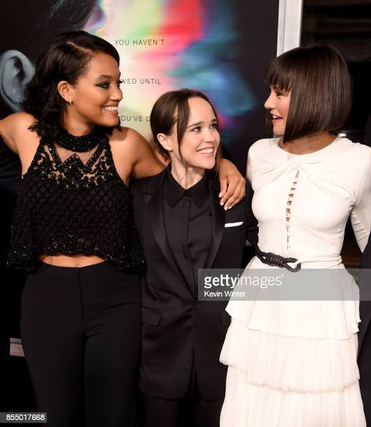 Actresses Kiersey Clemons Ellen Page and Nina Dobrev arrive at the premiere of Columbia Pictures' 'Flatliners' at the Ace Theatre on September 27...