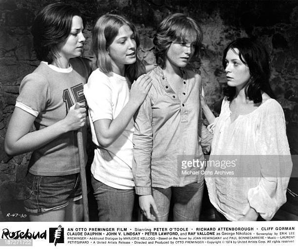 Actresses Kim Cattrall Debra Berger Isabelle Huppert and Brigitte Ariel on set of the United Artist movie 'Rosebud' in 1975