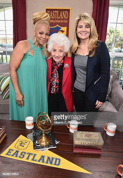 Actresses Kim Fields Charlotte Rae and Lisa Whelchel attend Hallmark's Home and Family 'Facts Of Life Reunion' at Universal Studios Backlot on...