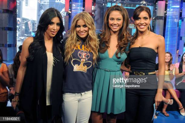 Actresses Kim Kardashian Carmen Electra and Vanessa Minnillo and host Julissa Bermudez at MTV's TRL at the MTV studios in Times Square on August 26...