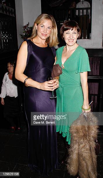Actresses Kim Medcalf and Kasey Ainsworth attend an after party following the Crazy For You press night at the Jewel Bar on October 17 2011 in London...